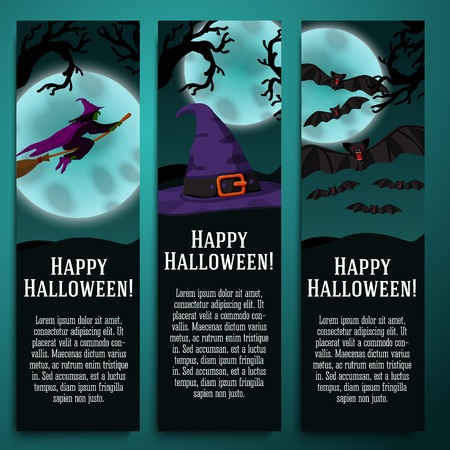 Set of halloween banners with witch, hat, bat symbols - moony background and scary tree branches. Vector