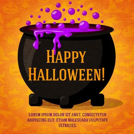 Gelukkig halloween leuke retro banner op ambachtelijke papier textuur met zwarte heks ketel kokend het drankje. Groet en plaats voor uw tekst. Achtergrond - heksen, vleermuizen, spinnen.