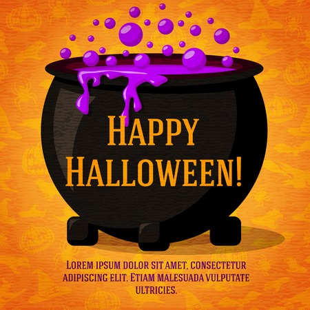 Happy halloween cute retro banner on craft paper texture with black witch cauldron boiling the potion. Greeting and place for your text. Background - witches, bats, spiders.