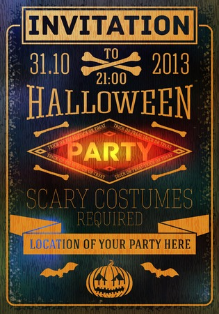 halloween costume: Invitation to halloween party with bats, bones, pumpkins. Place for your text, location. Vector