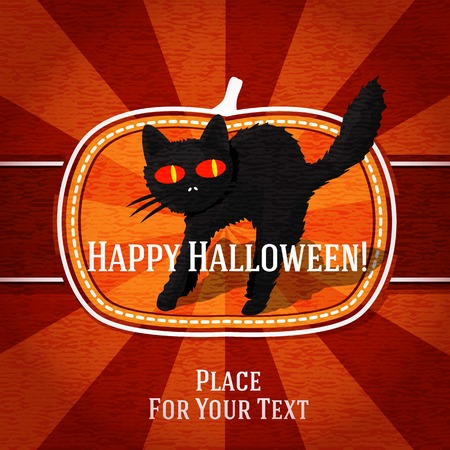 Pumpkin shape retro stylized badge, with black scary cat and halloween greeting. Vector Vector