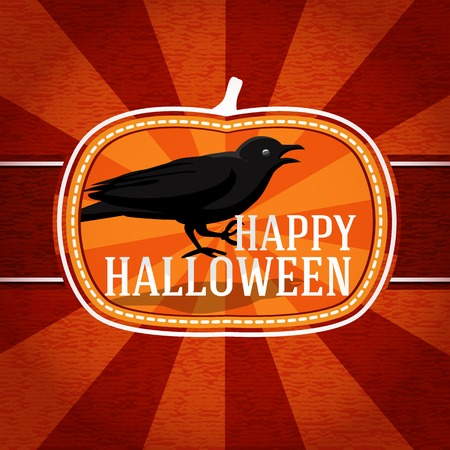 Pumpkin shape retro stylized badge, with black scary raven and happy halloween greeting. Vector Vector