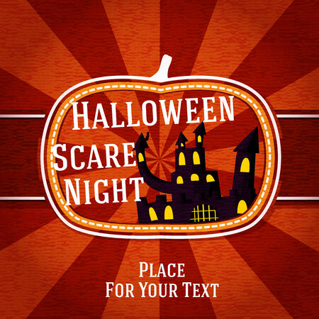 casita de dulces: Forma de calabaza estilizado retro insignia, con el negro de miedo mansi�n embrujada y el saludo de halloween. Vector