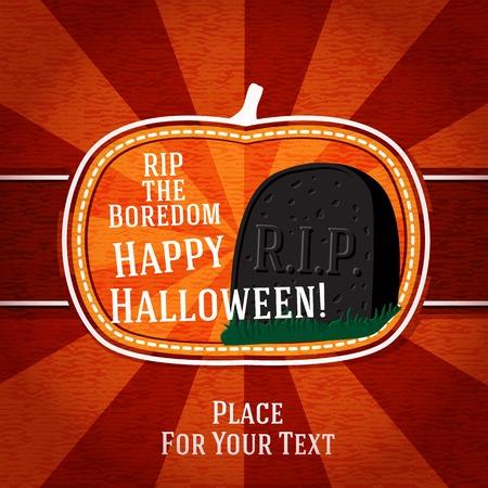 boredom: Pumpkin shape retro stylized badge, with black rip boredom tomb stone and halloween greeting. Vector