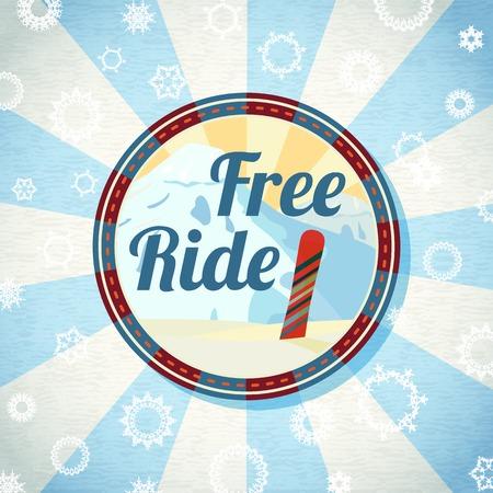 freeride: Etiqueta con freeride de monta�a de snowboard surf paisaje. Retro fondo estilizado en papel con textura brillante. Vector Vectores