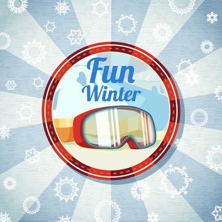 textured paper: Badge with snowboarders or skiers goggles, -Fun Winter- slogan. Retro stylized background on bright textured paper. Vector