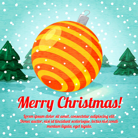 gaud: Merry Christmas greeting card with cute ball toy and place for your text. Vector