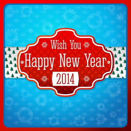ruban blanc: Vintage label rouge stylis� Nouvel An, la texture sur ruban blanc avec des arbres de No�l. Snowflake fond bleu. Vector.