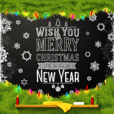 spruce tree: Wish you a merry christmas and happy new year message, written on the school chalkboard. Decorated with spruce tree fur.
