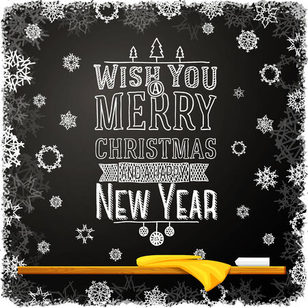 Wish you a merry christmas and happy new year message, written on the school chalkboard. Vector
