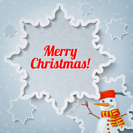 paper cut out: Merry christmas and new year greeting card with paper cut out snowflake, and picture of new year snowman with scarf on it.