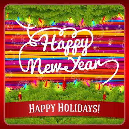 cotton candy: New Year greeting card decorated by pine wreath with candles, baubles, lights on bright lace background. With hand written curl Happy New Year greeting. And ribbon for your text. Vector. Illustration