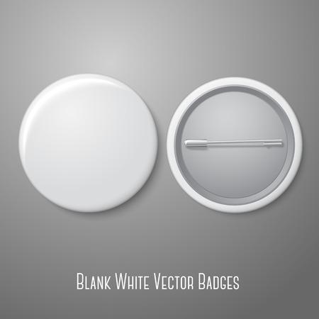 白い空白のベクトルを示すバッジ。両方サイド - 直面し、バックアップします。  イラスト・ベクター素材