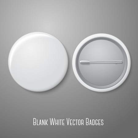 Blank vector white badge. Both sides - face and back.