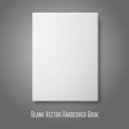 Realistic front white blank hardcover book.