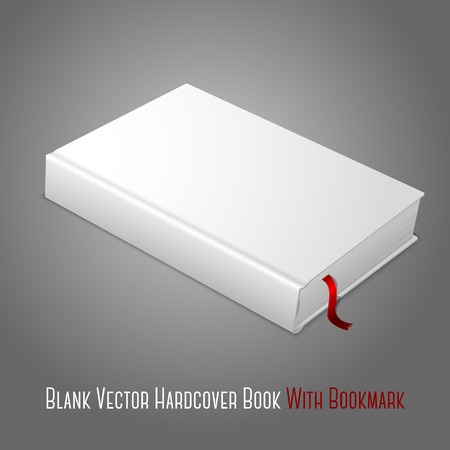 Realistic white blank hardcover book with red bookmark. Isolated on grey background for design and branding. Vector