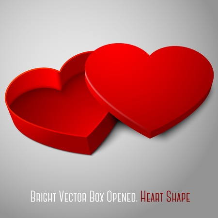 love shape: Vector realistic blank red opened heart shape box. For your valentines day, wedding or love presents design.