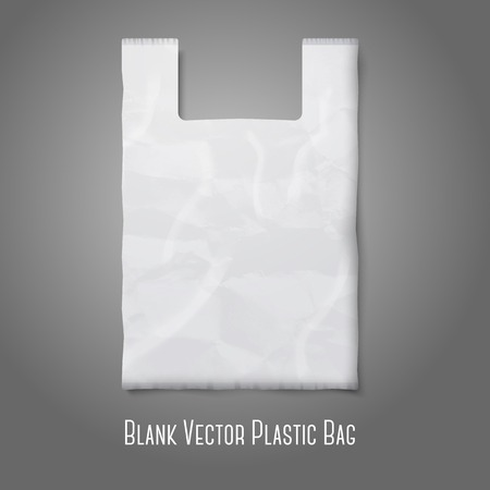 plastic: Blank white plastic bag with place for your design and branding. Vector