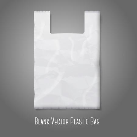 kunststoff: Leere wei�e Plastikt�te mit Platz f�r Ihr Design und Branding. Vektor