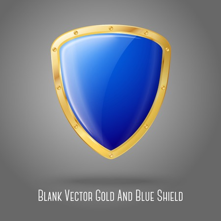 Blank blue realistic glossy shield with golden border isolated on grey background. Vector 일러스트