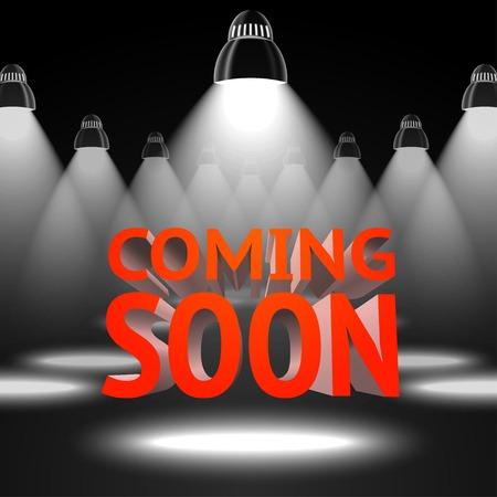 Bühne mit spot-Licht-Projektoren Blitz die roten Kommend Soon- Nachricht Standard-Bild - 33725094