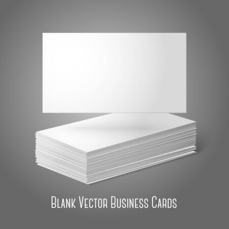 pile of papers: Blank vector business cards template. Pile  and one flat. Illustration