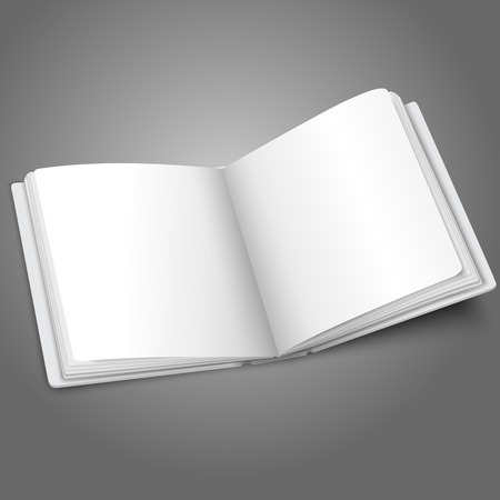 photo album page: Blank white vector opened book or photo album for your messages, design concepts, photos etc.