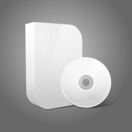 White realistic isolated DVD, CD, Blue-Ray smooth shaped case with disk on grey background. Vector