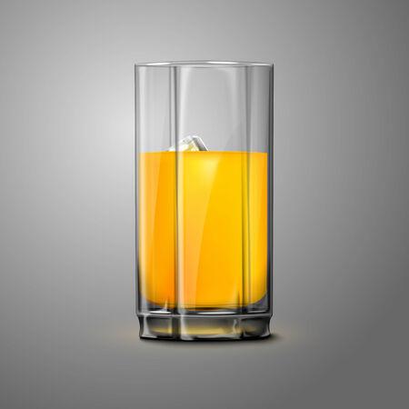 orange juice glass: Realistico Vector succo d'arancia in vetro con ghiaccio. Trasparente per ogni fondo. Vettoriali