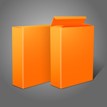 cereal box: Two realistic bright orange blank paper packages for cornflakes, muesli, cereals etc. Illustration