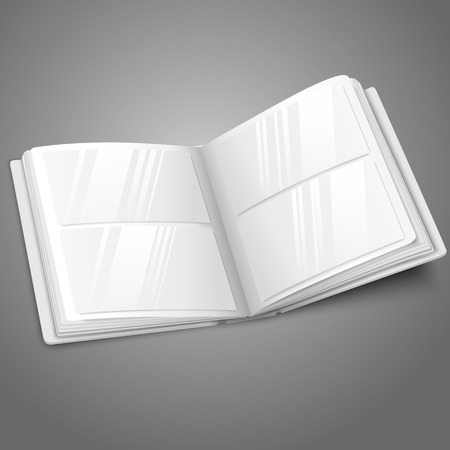Blank white vector opened photo album for your messages, design concepts, photos etc. Vector