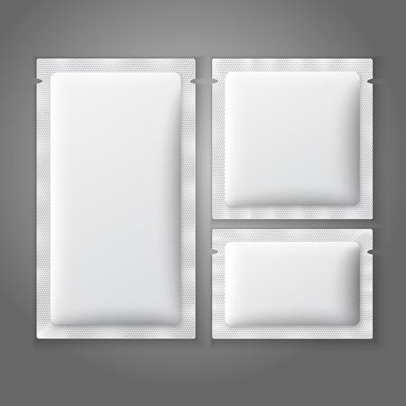 Blank white plastic sachets for coffee, sugar, salt, spices, medicine, condoms, drugs. Vectores