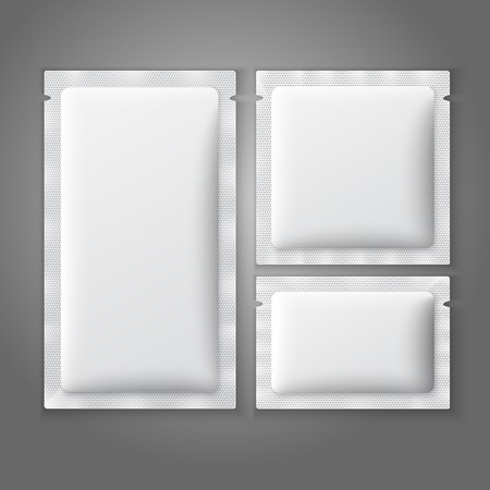 Blank white plastic sachets for coffee, sugar, salt, spices, medicine, condoms, drugs. Illustration