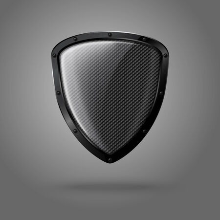 metal shield: Blank realistic glossy shield with carbon texture and black border. Vector