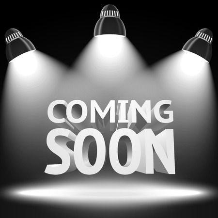 luz focal: Etapa con el mensaje -Viniendo pronto- lugar proyectores de luz rel�mpago para sus negocios, presentaciones, ofertas, etc vector