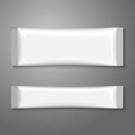 Blank white plastic stick pack for coffee, sugar, salt, spices. Vector Vettoriali