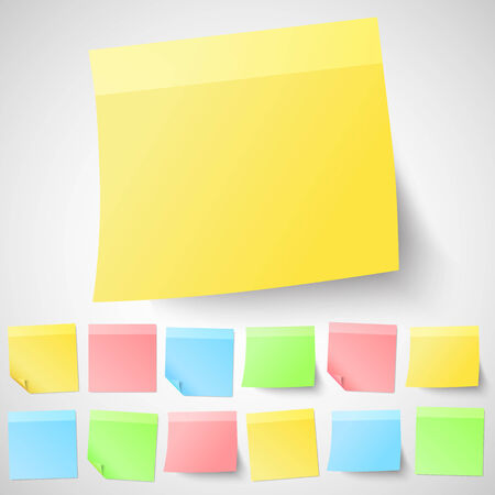 adhesive: Set of isolated adhesive sticky notes. Different shapes and colors.