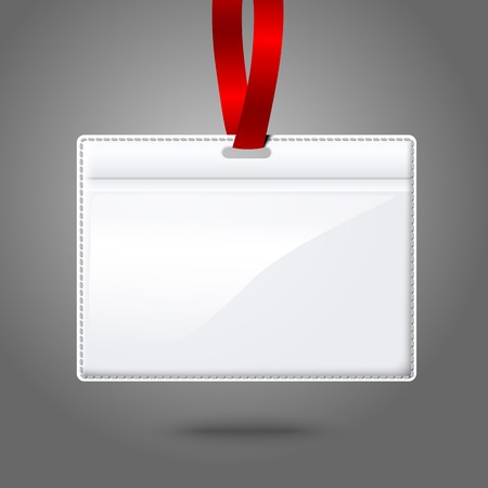 cardholder: Blank vector realistic horizontal badge holder with bright red light lace. Isolated on grey background for design and branding. Vector