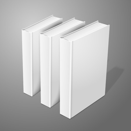hard cover: Realistic three standing white blank hardcover books. Isolated on background for design and branding. Vector