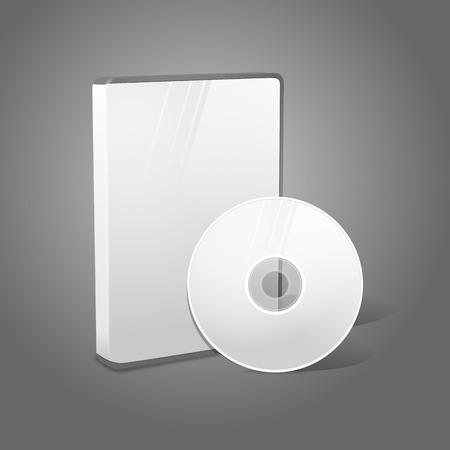 blueray: White realistic isolated DVD, CD, Blue-Ray case with disk on grey background. With place for your text and pictures. Vector