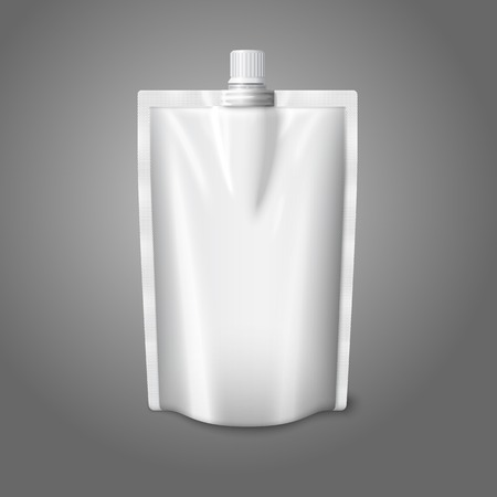 pouch: Blank white realistic plastic pouch with cap, isolated on grey background. Vector