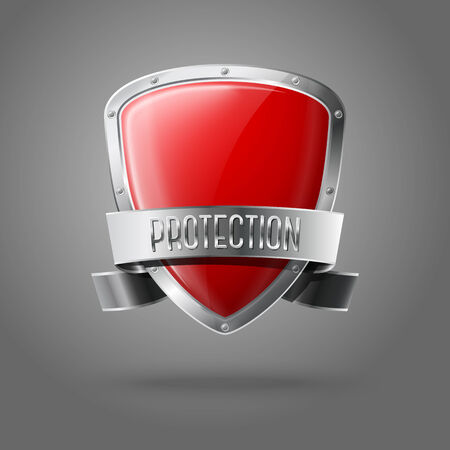 cavalier: Blank red realistic glossy protection shield with silver ribbon and border isolated on grey background. Vector