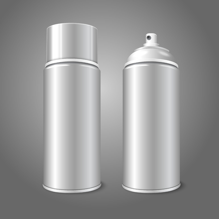compressed air: Two blank vector aerosol spray metal 3D bottle cans - opened and with cap. For paint, graffiti, deodorant, foam, cosmetics etc.