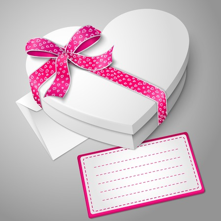 bowknot: Vector realistic blank white heart shape box with ribbon, bow-knot, envelope and message card for your text.