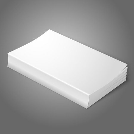 book isolated: Realistic white blank softcover book. Isolated on grey background for your design or branding. Vector Illustration