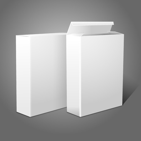 cereal box: Two realistic white blank paper packages for cornflakes, muesli, cereals etc. Isolated on grey background. Vector