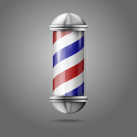 Old fashioned vintage silver, glass barber shop pole with red, blue and white stripes.