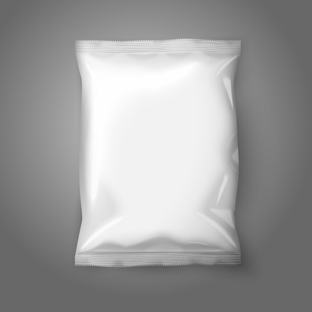 pouch: Blank white realistic foil snack pack isolated on grey background