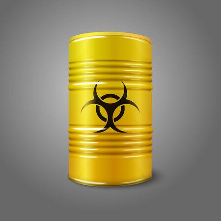 toxic barrels: Realista brillante barril grande de color amarillo con el signo de peligro biol�gico, aislado sobre fondo gris