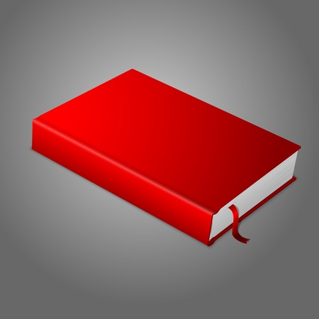 hardcover: Realistic red blank hardcover book with bookmark. Illustration